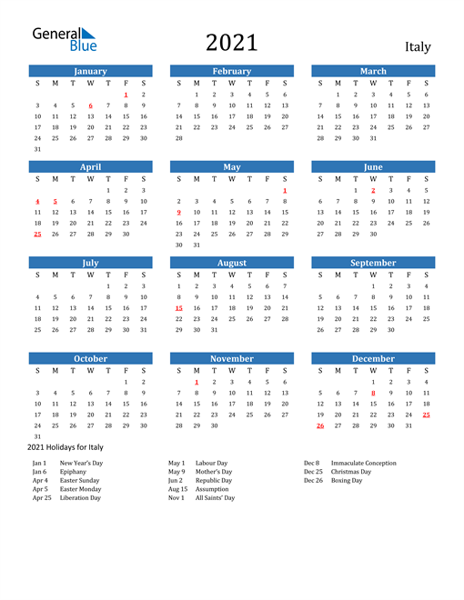 Image of 2021 Calendar - Italy with Holidays
