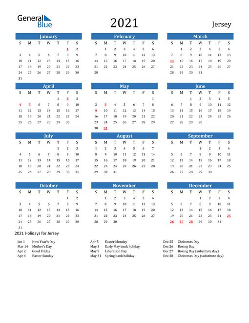 Jersey 2021 Calendar with Holidays