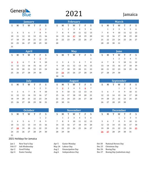 Image of 2021 Calendar - Jamaica with Holidays