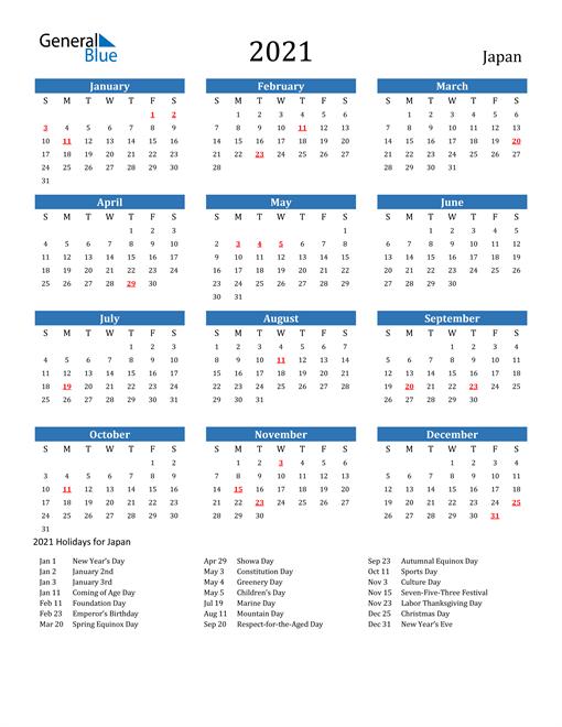 Japan 2021 Calendar with Holidays