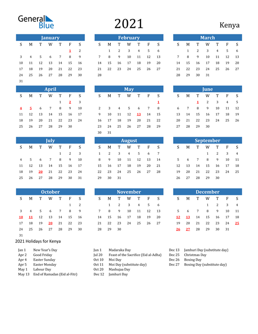 Image of 2021 Calendar - Kenya with Holidays