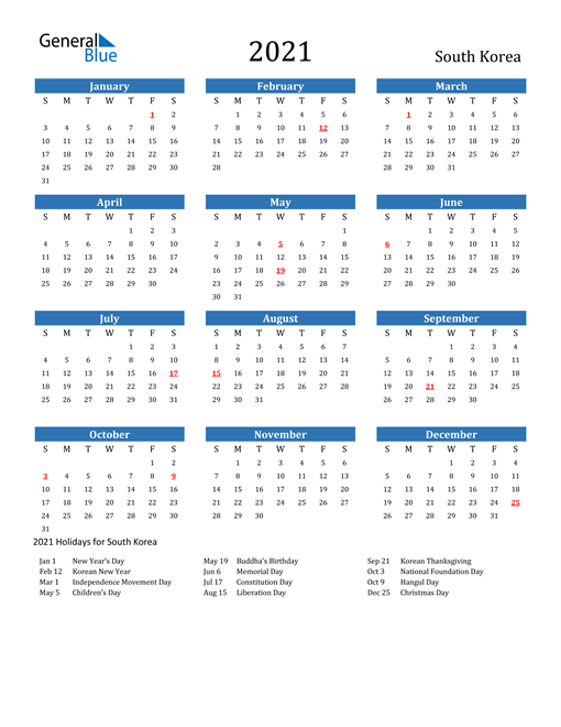 Image of 2021 Calendar - South Korea with Holidays