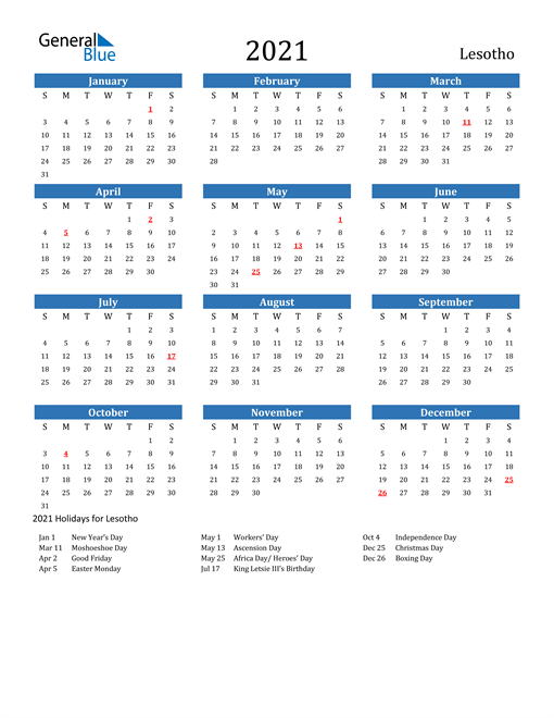 Image of 2021 Calendar - Lesotho with Holidays