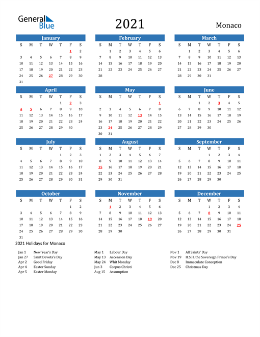Image of 2021 Calendar - Monaco with Holidays