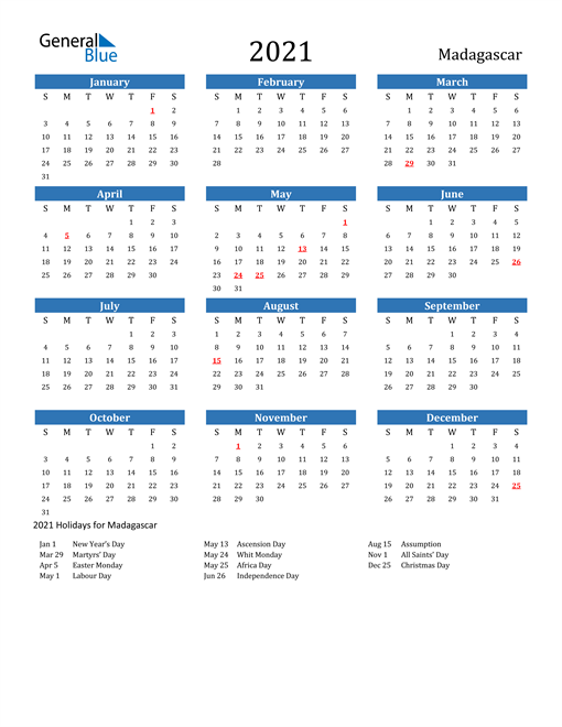 2021 Calendar - Madagascar with Holidays
