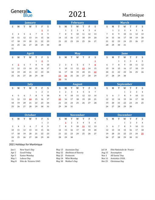 2021 Calendar with Martinique Holidays