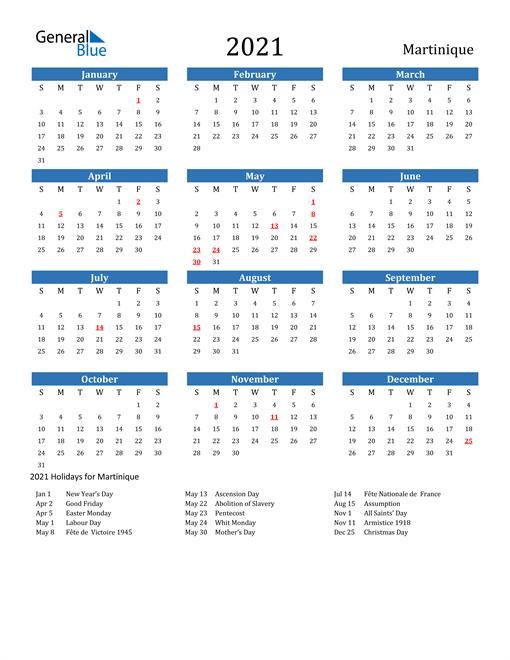 Image of 2021 Calendar - Martinique with Holidays