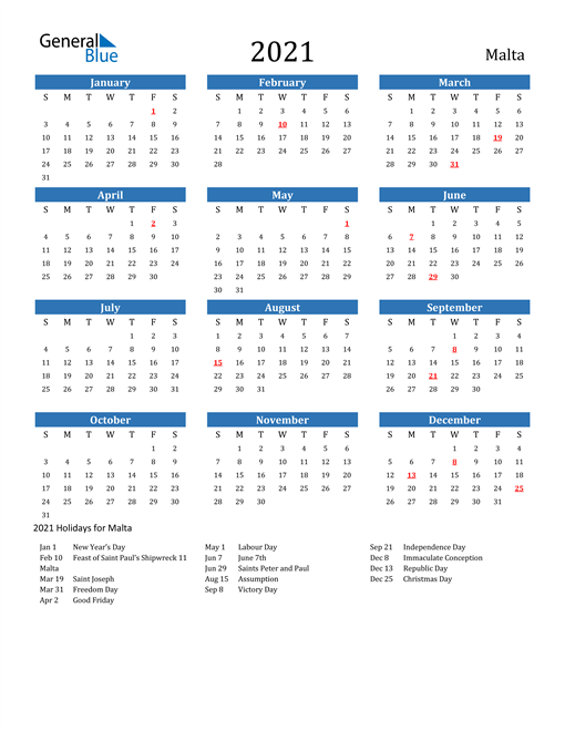 Image of 2021 Calendar - Malta with Holidays