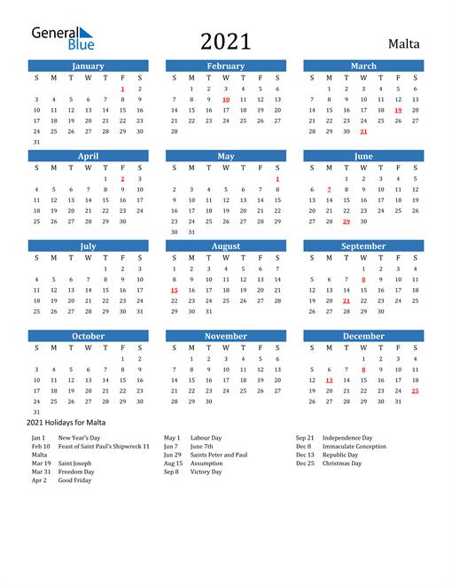 2021 Calendar with Malta Holidays