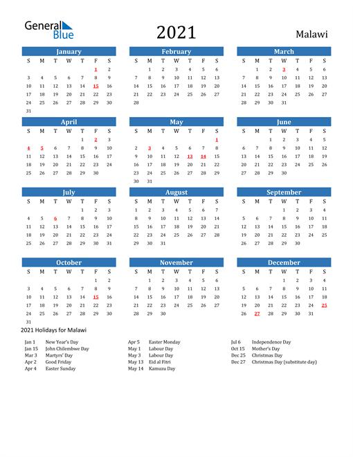 Image of 2021 Calendar - Malawi with Holidays