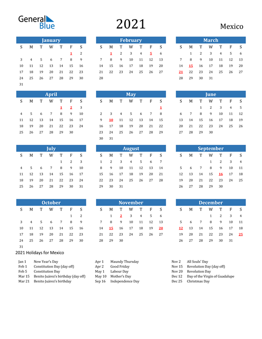 Image of 2021 Calendar - Mexico with Holidays
