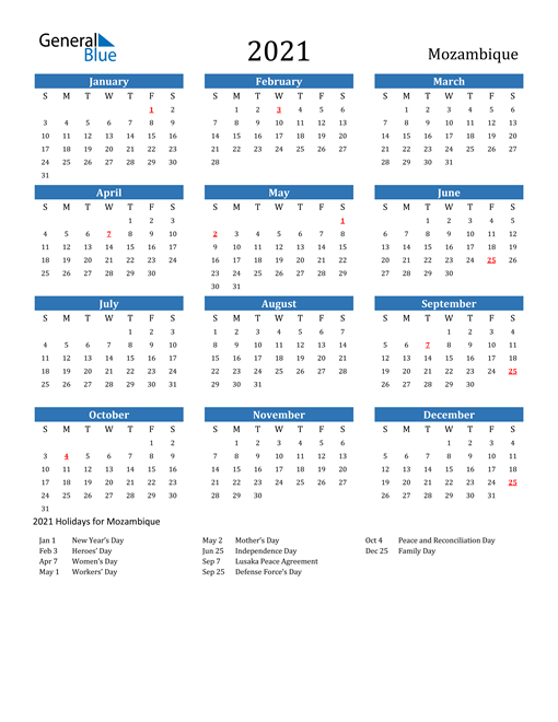 Image of 2021 Calendar - Mozambique with Holidays