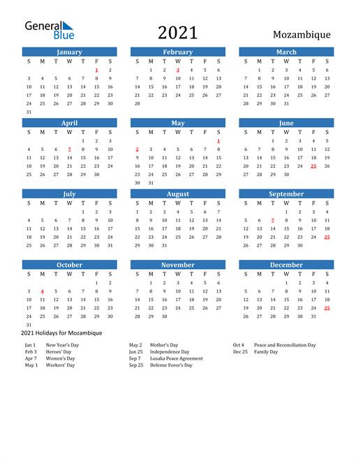 2021 Calendar with Mozambique Holidays