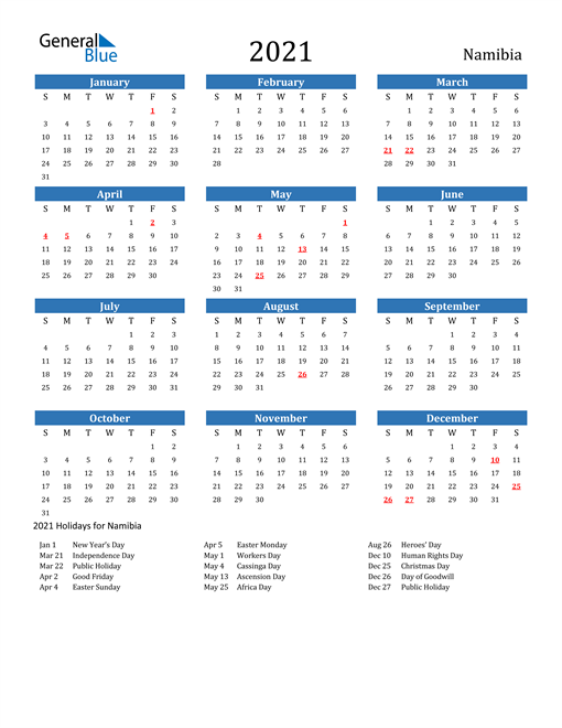 Image of 2021 Calendar - Namibia with Holidays