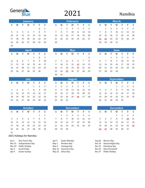 2021 Calendar Namibia With Holidays