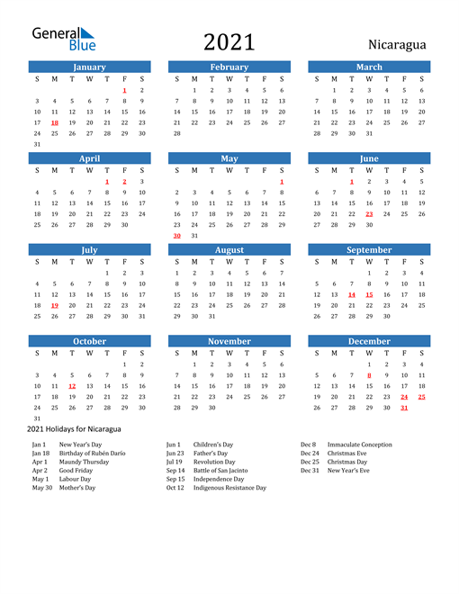 Image of 2021 Calendar - Nicaragua with Holidays