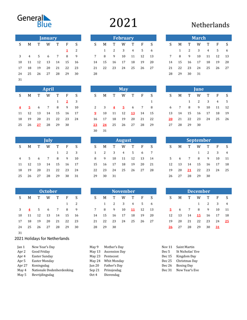Image of 2021 Calendar - Netherlands with Holidays