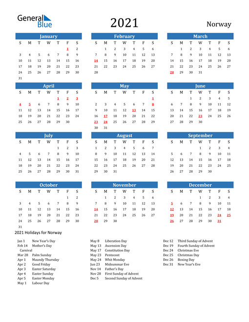 Image of Norway 2021 Calendar with Holidays
