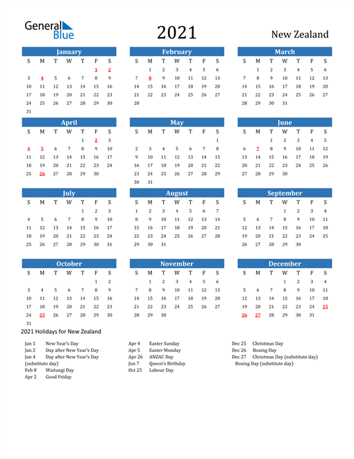 Image of 2021 Calendar - New Zealand with Holidays