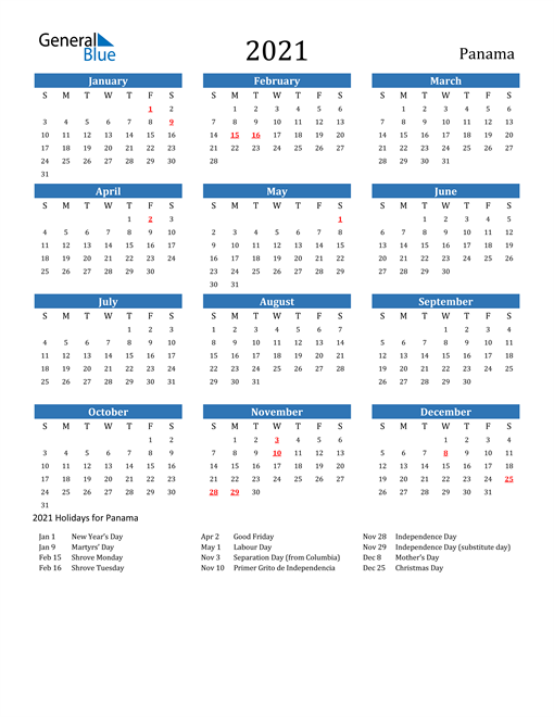 Image of 2021 Calendar - Panama with Holidays