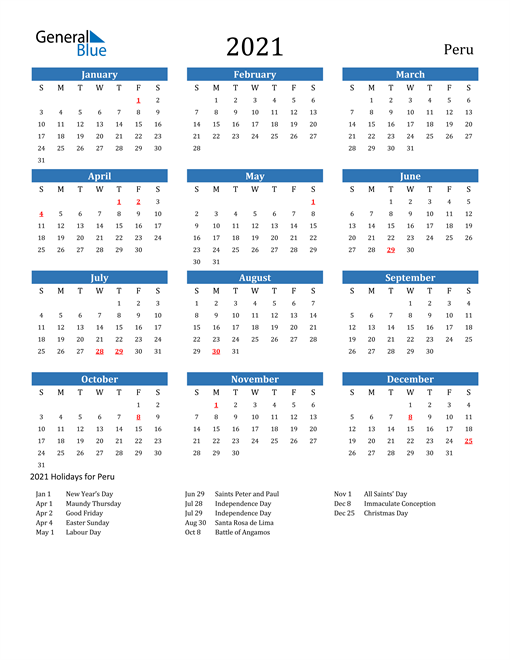 Image of 2021 Calendar - Peru with Holidays