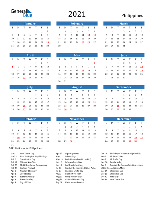 Image of 2021 Calendar - Philippines with Holidays