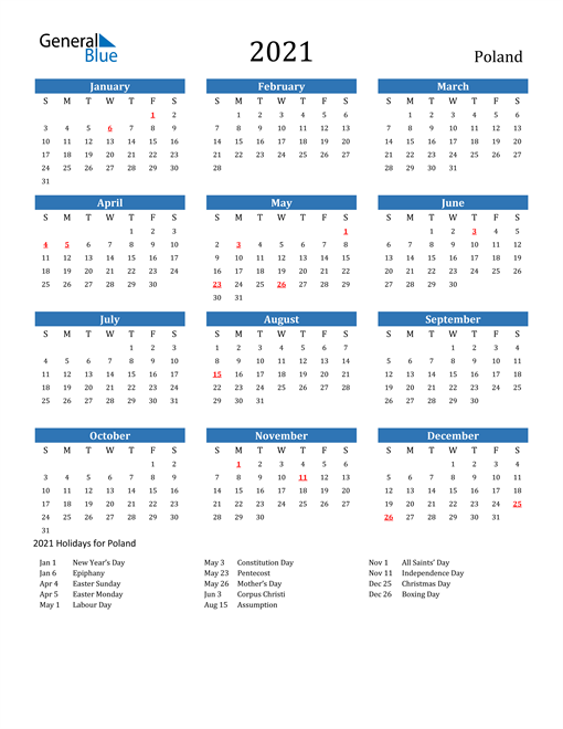 Image of 2021 Calendar - Poland with Holidays