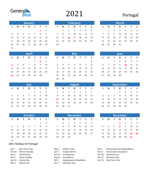 Image of 2021 Calendar - Portugal with Holidays