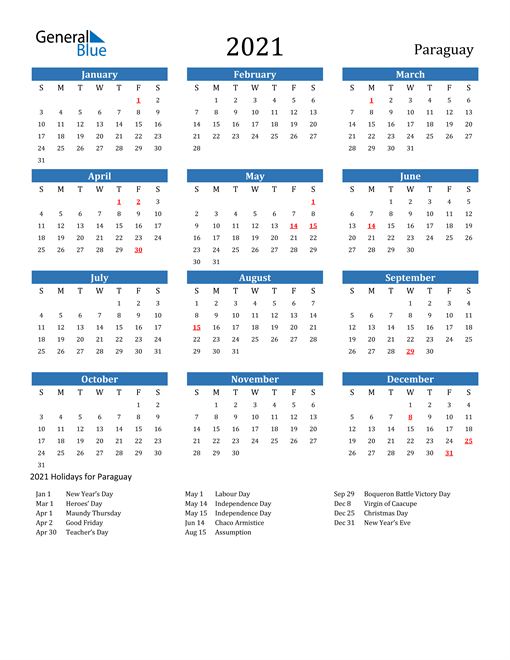 Image of 2021 Calendar - Paraguay with Holidays
