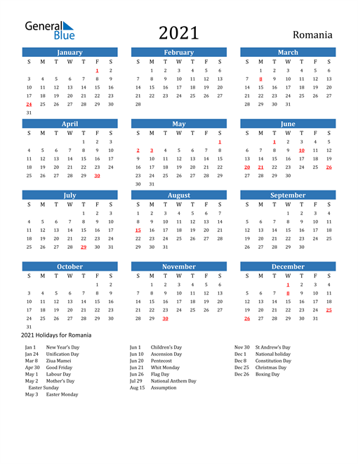 2021 Calendar with Romania Holidays