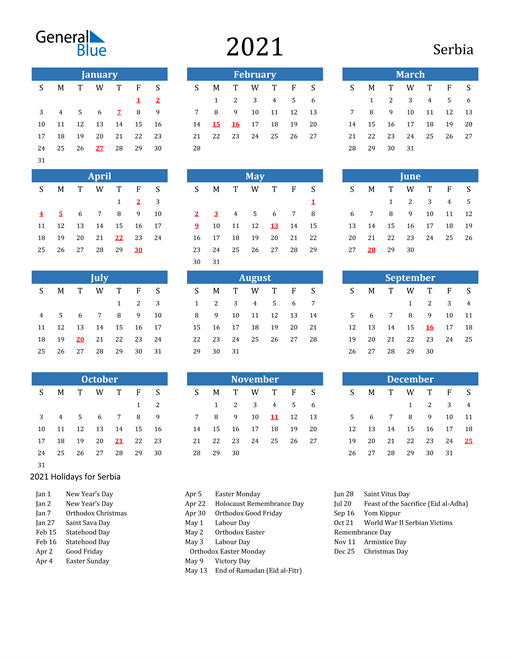 Image of 2021 Calendar - Serbia with Holidays