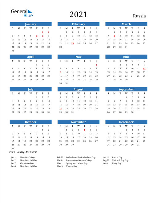 Image of 2021 Calendar - Russia with Holidays