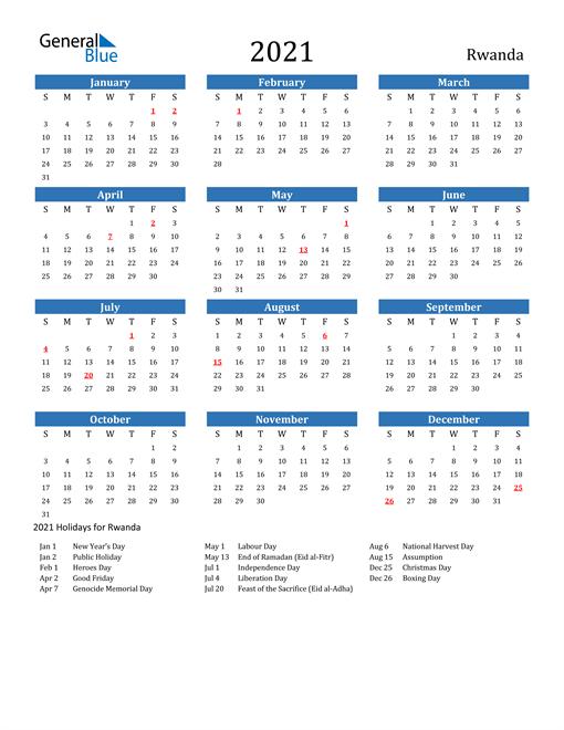 Image of 2021 Calendar - Rwanda with Holidays