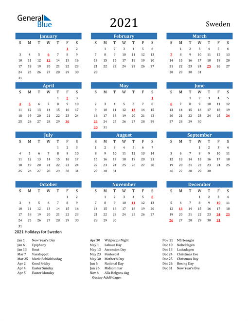 Image of Sweden 2021 Calendar with Holidays