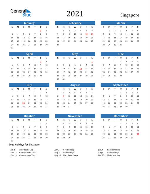 Image of 2021 Calendar - Singapore with Holidays