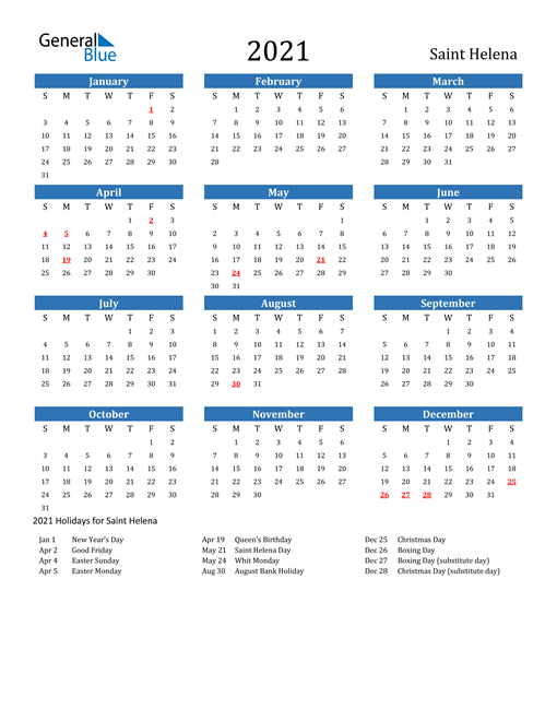 Image of 2021 Calendar - Saint Helena with Holidays