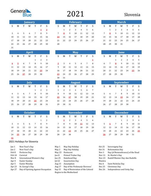 Image of 2021 Calendar - Slovenia with Holidays
