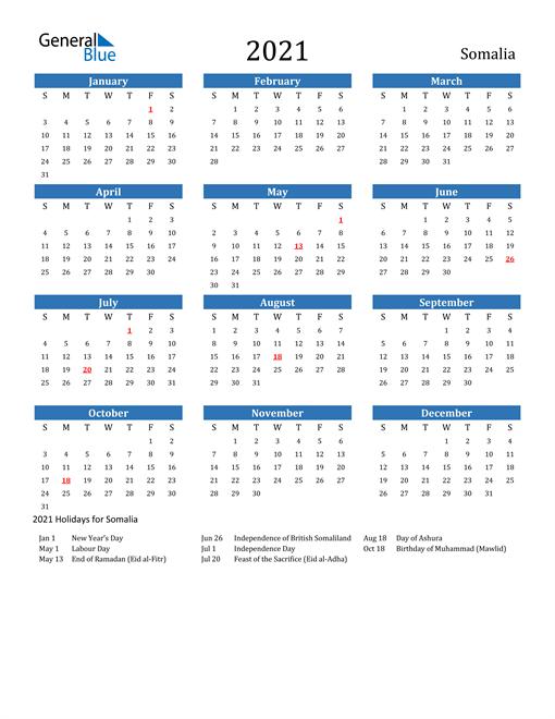 Image of 2021 Calendar - Somalia with Holidays