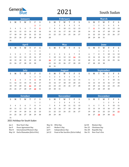 Image of 2021 Calendar - South Sudan with Holidays