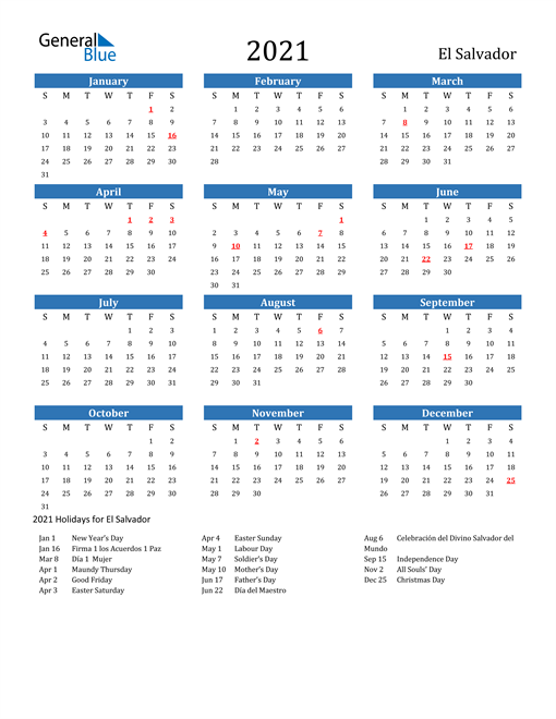 Image of 2021 Calendar - El Salvador with Holidays