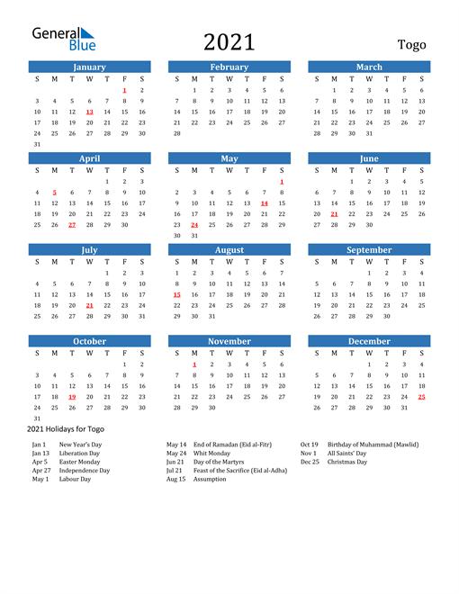 Image of 2021 Calendar - Togo with Holidays
