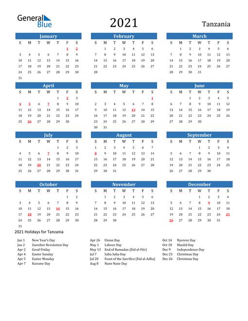 Image of 2021 Calendar - Tanzania with Holidays