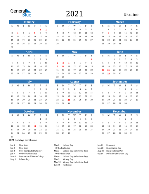 Image of 2021 Calendar - Ukraine with Holidays