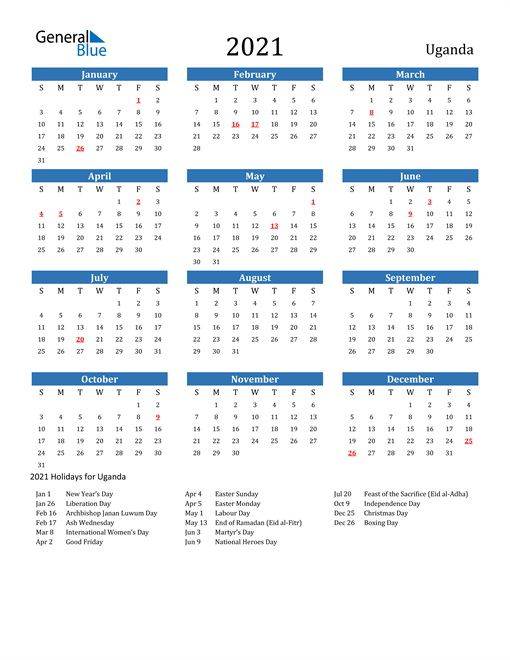 2021 Calendar Uganda With Holidays