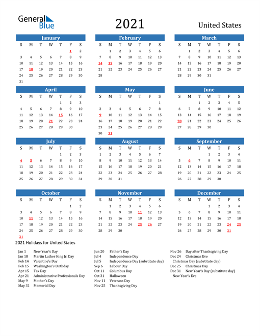 Image of 2021 Calendar - United States with Holidays