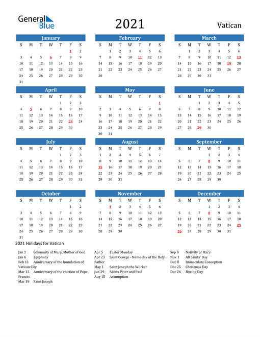 Image of 2021 Calendar - Vatican with Holidays