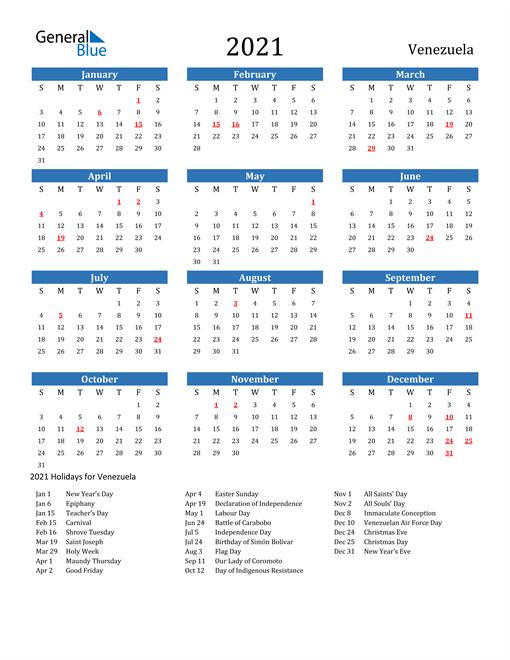 Image of 2021 Calendar - Venezuela with Holidays