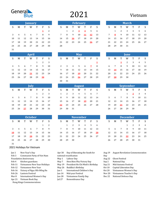 Image of 2021 Calendar - Vietnam with Holidays