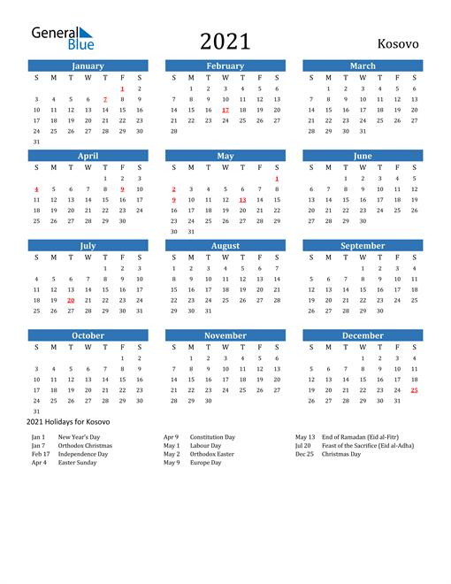 Image of 2021 Calendar - Kosovo with Holidays