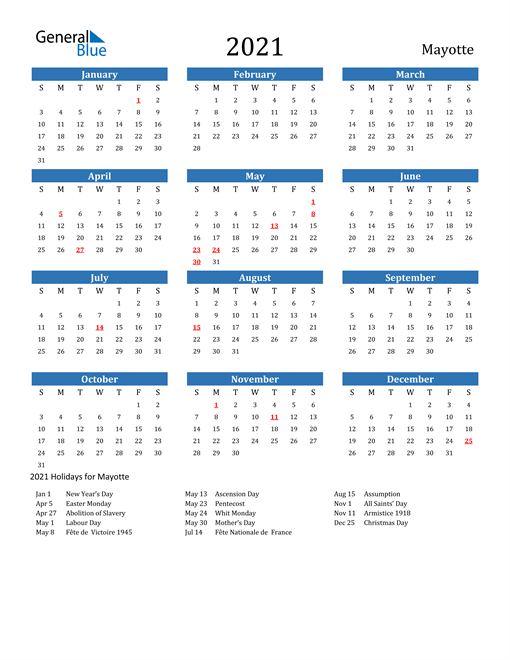 Image of 2021 Calendar - Mayotte with Holidays
